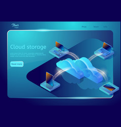 cloud data storage web page template isometric vector image