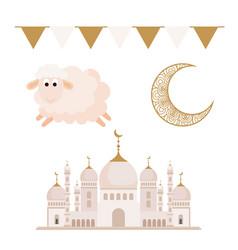 collection eid al adha mubarak icons decoration vector image