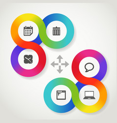 Color circle web interface template with icons vector image