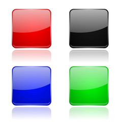 colored glass 3d buttons square icons vector image
