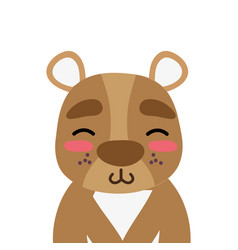 Colorful adorable and shy bear wild animal vector