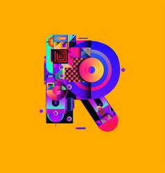 Colorful alphabet font letter r for logo vector