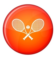 Crossed tennis rackets and ball icon flat style vector image
