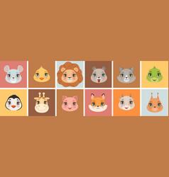 cute baanimal faces animals emoticons funny vector image