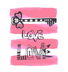 Cute hand drawn valentines day card with doodle vector