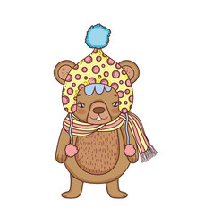 cute little bear with hat vector image