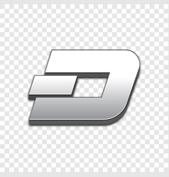 dash coin trendy 3d style icon vector image vector image