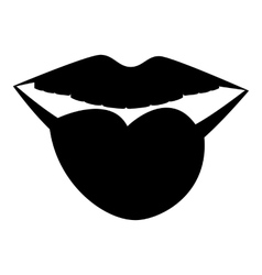 Female lips with tongue icon simple style vector image