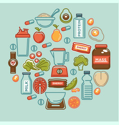 Fitness food poster of sports healthy diet food vector