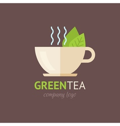 Flat green tea cup organic logotype vector