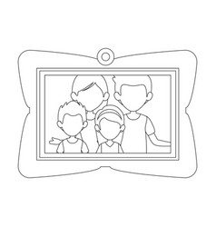 Frame with family picture icon vector
