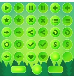 Game UI buttons - green elements vector image