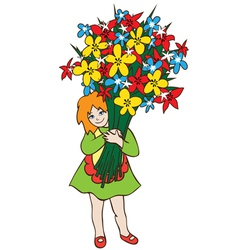 Girl with huge bouquet of flowers vector