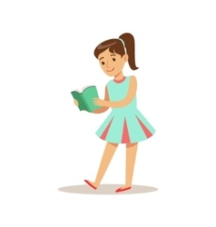 Girlin blue dress who loves to read vector