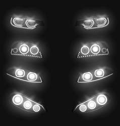 glowing car headlights 3d realistic set vector image
