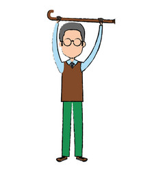 grandfather with cane avatar character vector image
