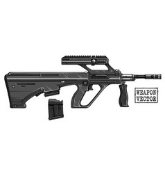 Graphic detailed modern automatic bullpup rifle vector