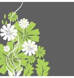 green and white flowers vector image