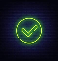 Green check mark neon sign check list vector