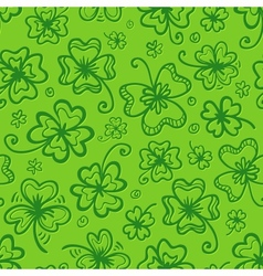 Green hand drawn clovers seamless pattern vector image vector image