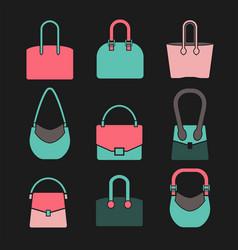 Handbag icons set vector
