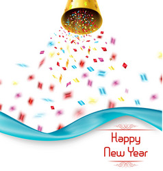 Happy new year exploding party bell with confetti vector