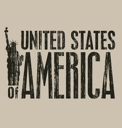 inscription united stated america with statue vector image