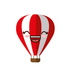 Kawaii air balloon icon vector