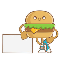 Kawaii smiling cheese hamburger icon cartoon vector