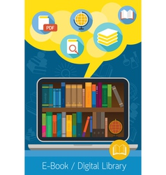 Laptop and books e-book and digital library vector
