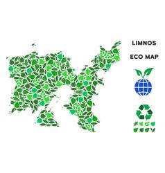 Leaf green collage limnos greek island map vector