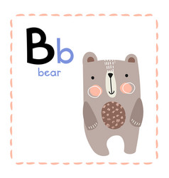 Letter b funny alphabet for young children vector