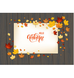 Lettering fall leaves on background vector