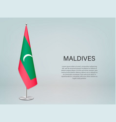 Maldives hanging flag on stand template vector