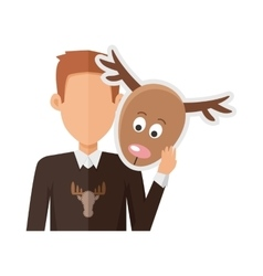Man with Deer Mask Flat Design vector image
