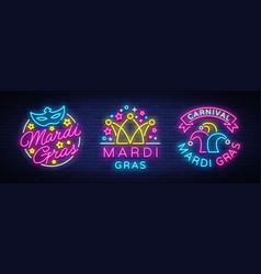 mardi gras set design template for greeting vector image