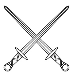 Medieval swords icon outline style vector image