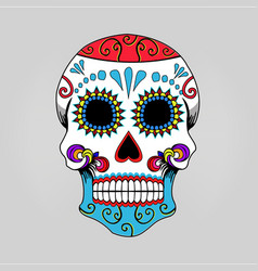 mexican skull skeleton cartoon vector image