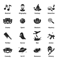 Movie genres icons vector image vector image