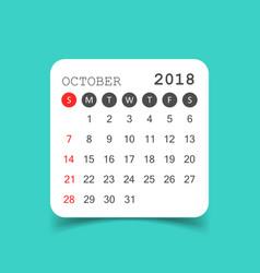 October 2018 calendar calendar sticker design vector
