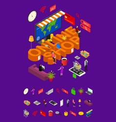 online shop concept and elements part 3d isometric vector image