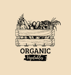 Organic vegetables logo farm eco products vector