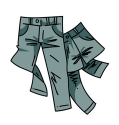 pair of jeans cartoon hand drawn image vector image