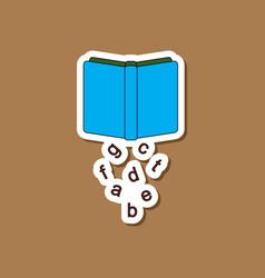 paper sticker on stylish background alphabet book vector image