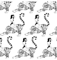 Pattern with hand drawn woman in vector