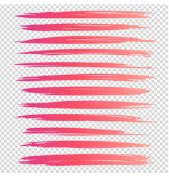 pink long textured brushstrokes isolated on vector image