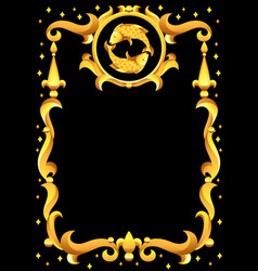 pisces zodiac sign with golden frame horoscope vector image