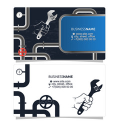 Plumbing and pipes business card concept vector