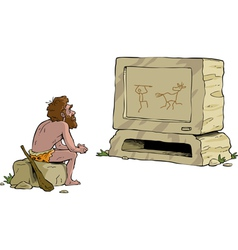 Primitive man watching television vector