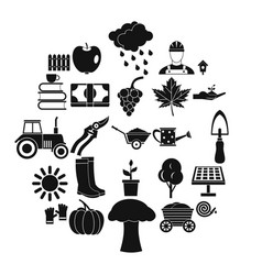 ranch icons set simple style vector image